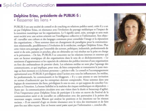 PUBLIK-S dans le numéro spécial communication santé du magazine Pharmaceutiques